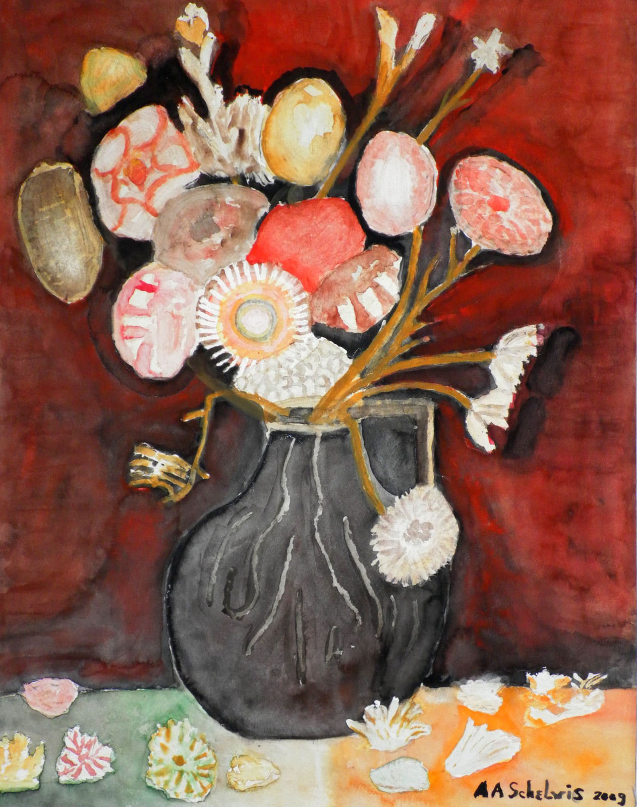 Retro bloemen in zwarte pot